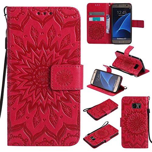 BoxTii Coque Galaxy S7, Etui en Cuir de Première Qualité, Housse Coque pour Samsung Galaxy S7 (#5 Rouge)