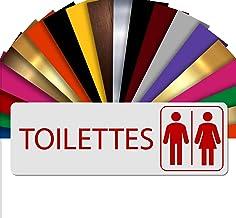 WC Mix | WC deurbordje | naambordje met reliëf PVC zelfklevend 5x15 cm | 19 kleuren Blanc Écriture Rouge