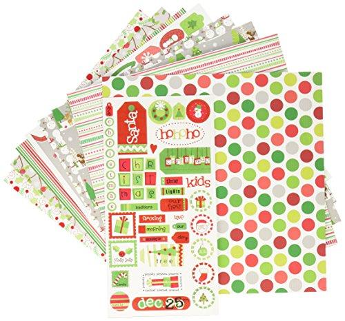 Doodlebug 5181 Paper Plus Value Supplies (12er-Pack), 30,5 x 30,5 cm, Weihnachten, Mehrfarbig