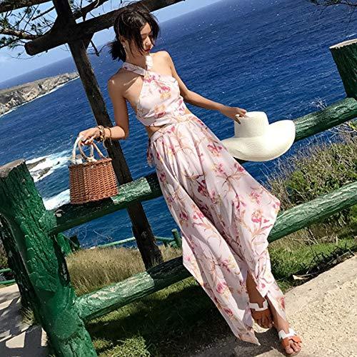 Frauen Maxi Blumendruck Rückenfreies Märchenkleid Sommerurlaub Tropisches Long Beach Kleid XL As Show