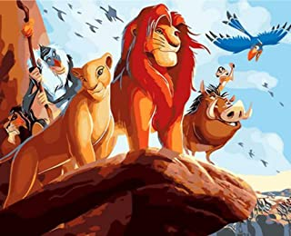 Quepar Paint by Number The Lion King Cartoon Poster Package Modern Style Hand Painted Acrylic Canvas Painting(40X50Cm/16X20Inch,No Frame)