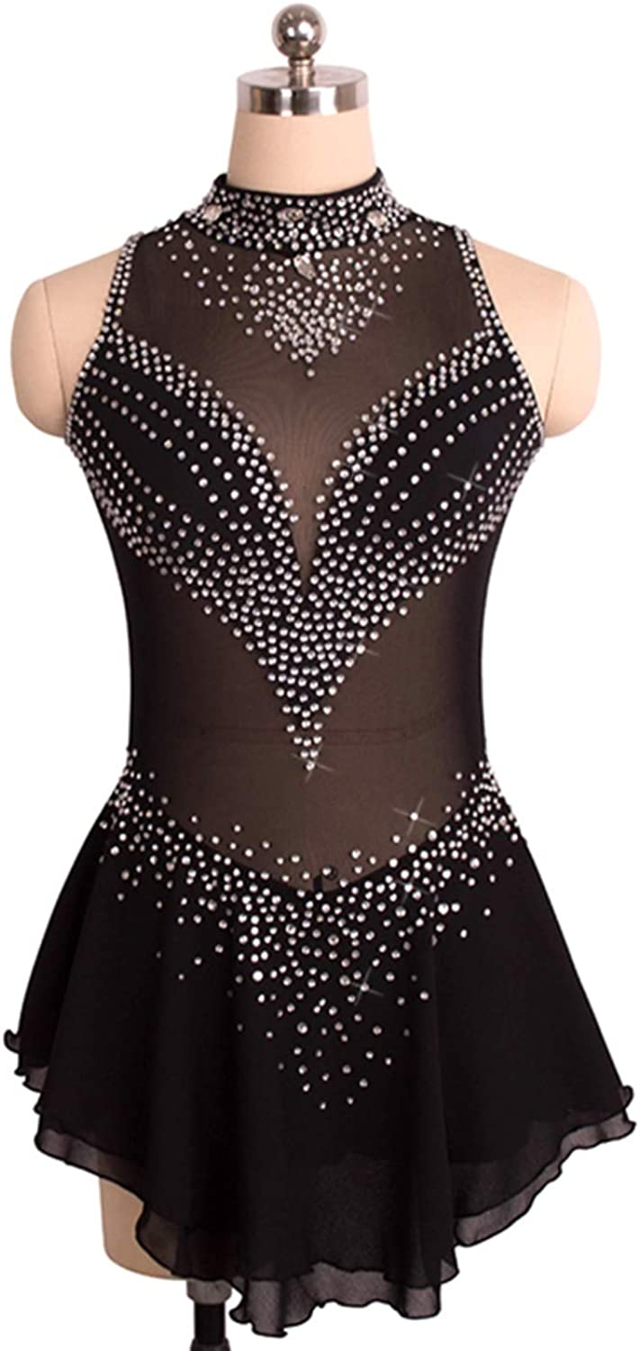 Sleeveless Figure Skating Dress for Girls and Women, Ice Skating Exercise Competition Costume, Ice Dance Performance Show Leotards Outfit with Crystals, Black
