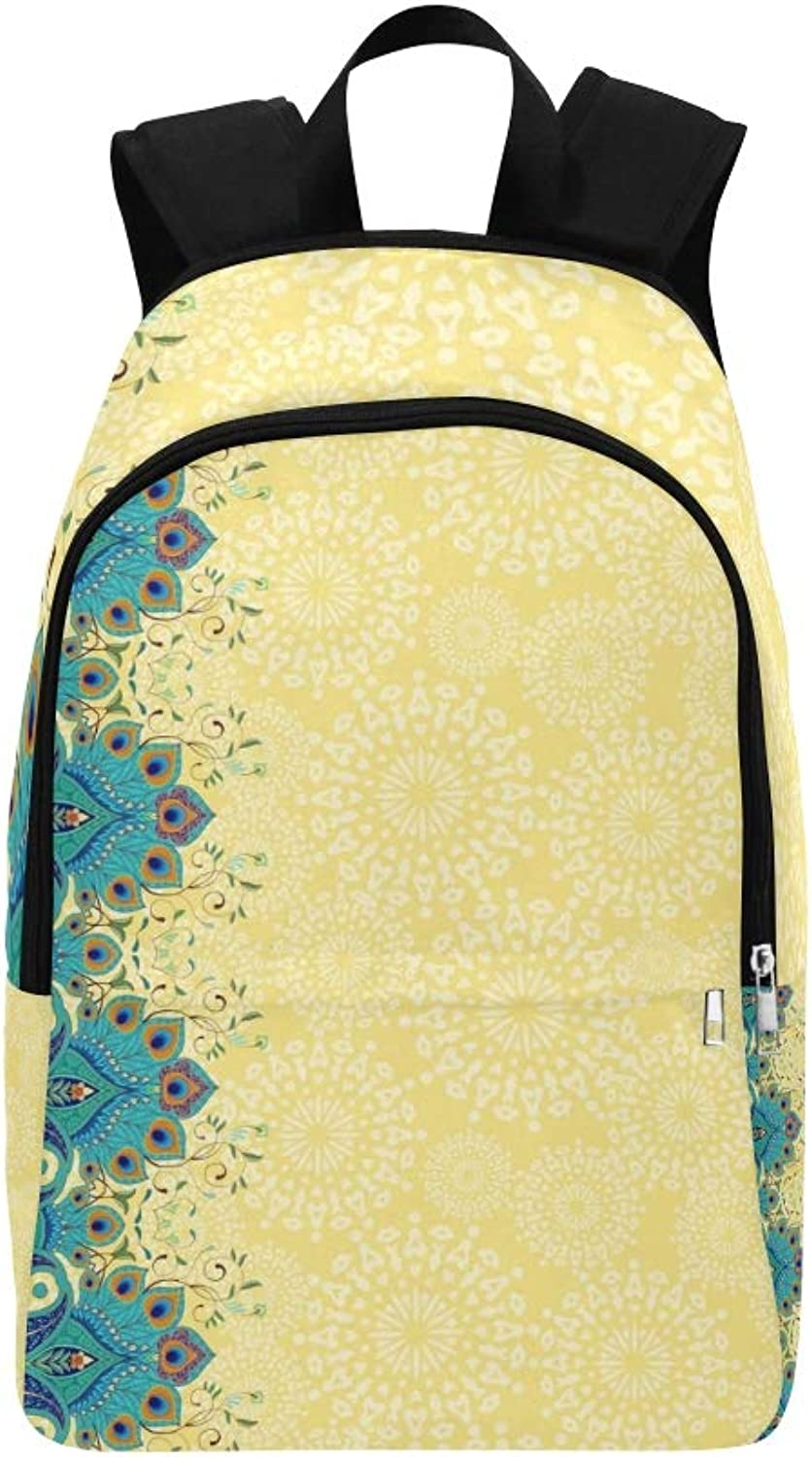 Card Floral Oriental Border Ornament Peacock Casual Daypack Travel Bag College School Backpack for Mens and Women