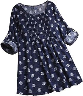 CRYYU Women's Cotton Linen Long Sleeve Loose Print Plus Size Tops T-Shirt Blouse