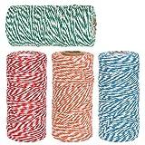DODUOS 4 Rollos Hilo de Algodón de 100m Cordón de Algodón con 2 Colores de Hilos Cordón de Navidad Cordel de Jardín para Envolver Regalos, Manualidades, Decoración Navideña