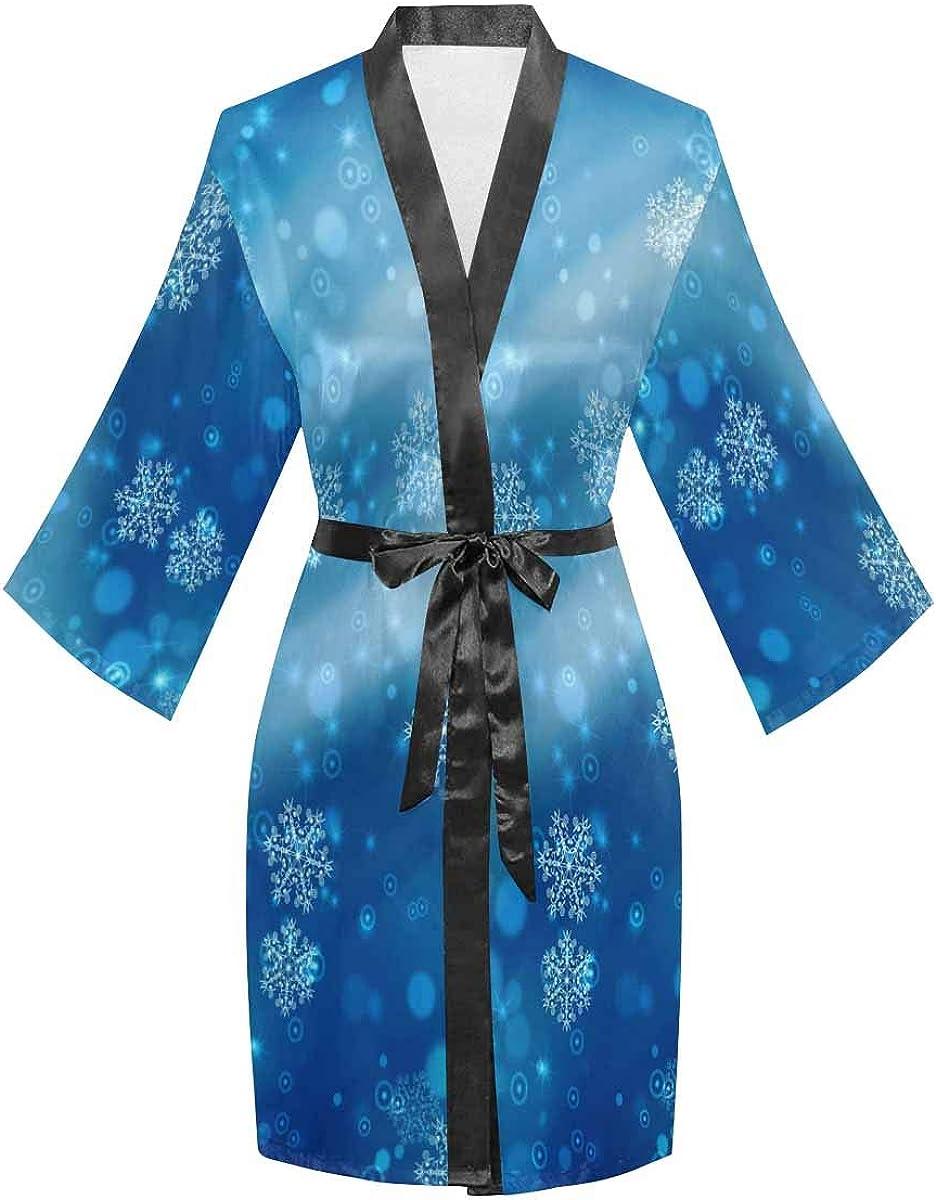 InterestPrint Women's Kimono Robes with V-Ne Long Albuquerque Mall Sleeve 67% OFF of fixed price Oblique