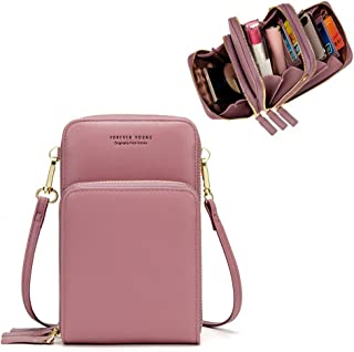 34816d0f24d7bd Kingto Small Leather Crossbody Cellphone Shoulder Bag for Women, Smartphone  Wallet Purse with Removable Strap