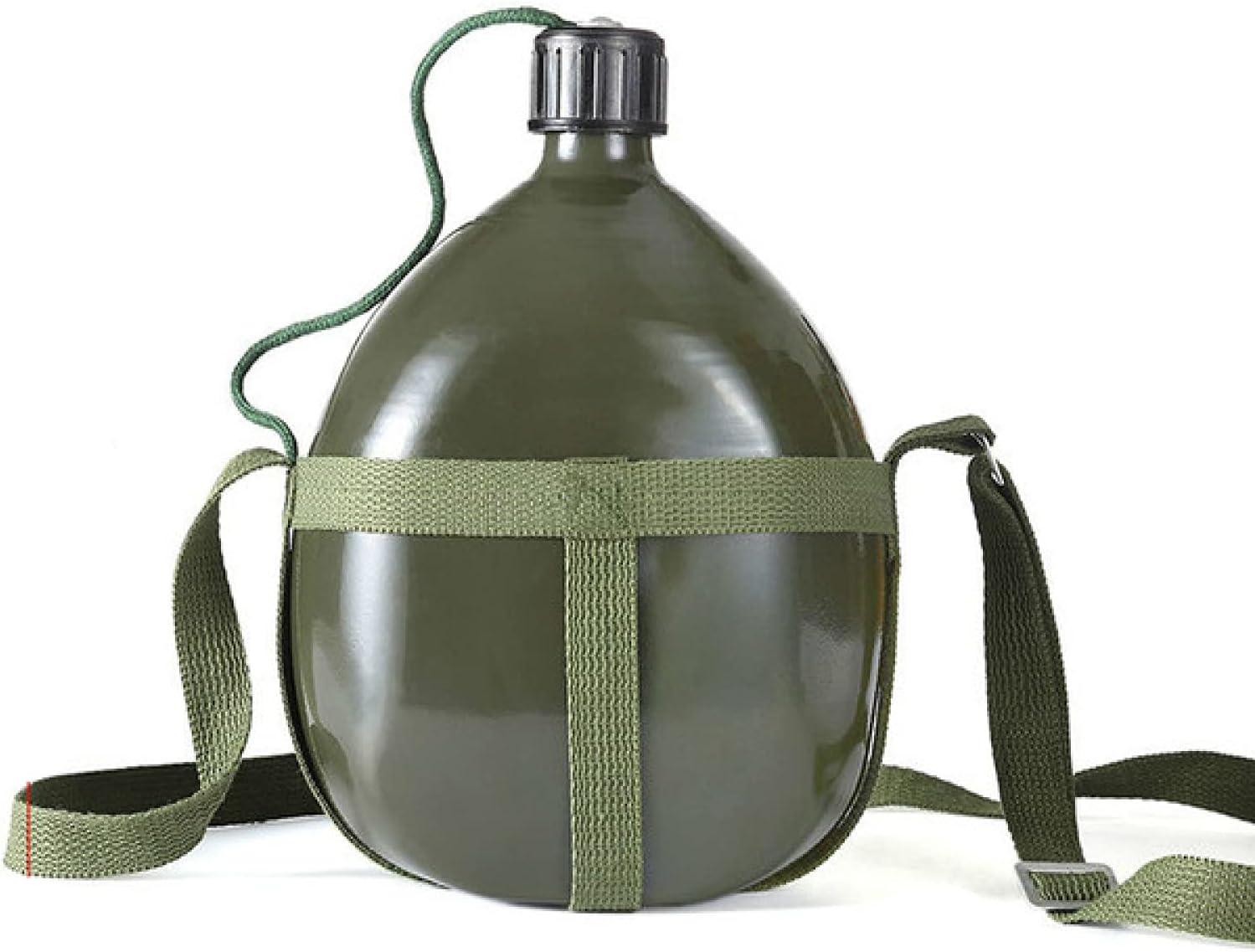 ATARSM Botella de Agua Deportiva Aluminio 1/1,5/2 / 2,5L Frasco de Agua portátil con Funda de cinturón de Nailon para Senderismo Ciclismo al Aire Libre