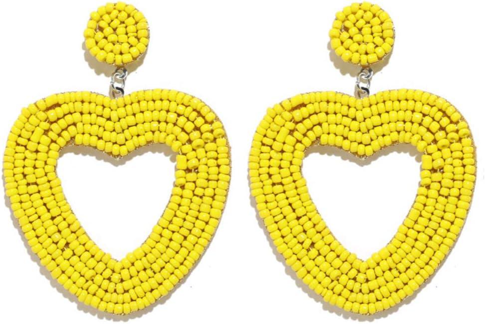 zhenleisier Women Hollow Out Heart Beading Dangle Hook Ear Stud Cuff Earrings Daily Office Party Dating Jewelry Yellow