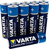 VARTA Longlife Power AA Mignon LR6 Batterie (10er Pack) Alkaline Batterie - Made in Germany - ideal für Spielzeug Taschenlampe Controller und andere batteriebetriebene Geräte