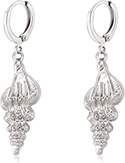ELEARDSeashell Earrings Gold/Silver Metallic Seashell Drop Dangle Huggie Hoop Earrings for Women