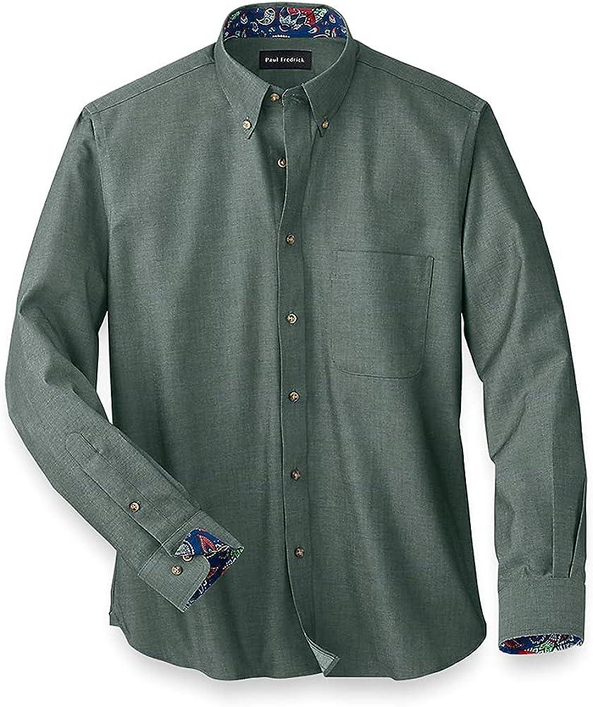 Paul Fredrick Men's Easy Care Cotton Solid Casual Shirt, Button Down Collar