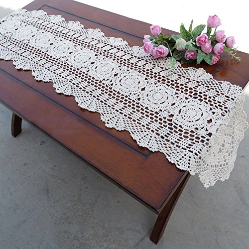 Yazi Chemin de table ovale en coton Motif floral Blanc 30 x 120 cm