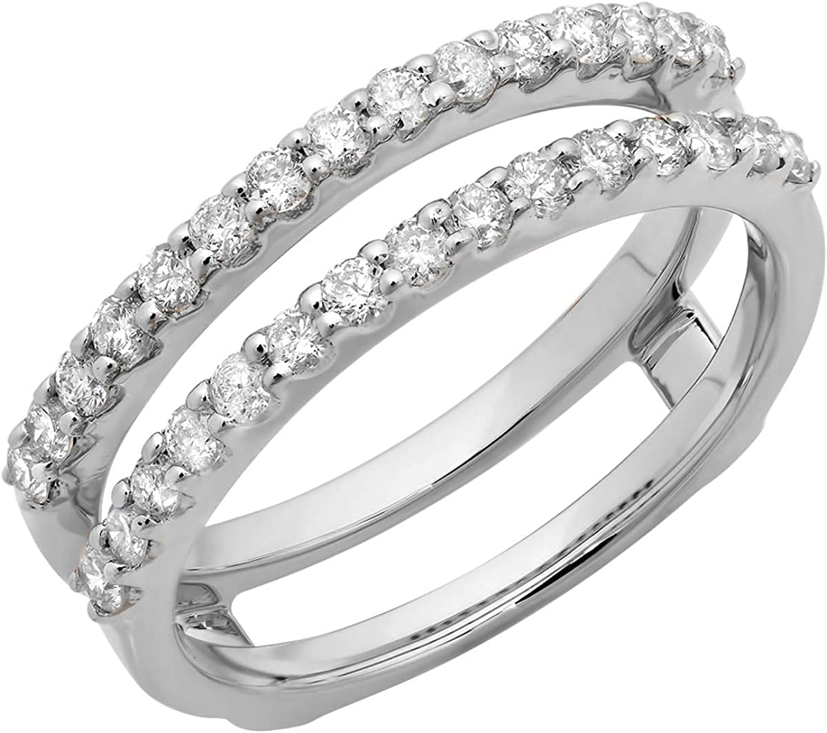 Dazzlingrock Collection 0.50 Carat (ctw) 14K Gold Round Lab Grown Diamond Ladies Wedding Enhancer Guard Band 1/2 CT