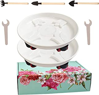T4U 12.5 Inch Plastic Plant Caddies Flower Planter Pot Stand Pack of 2 Movable Saucer Stand with Universal Wheels Rack on Rollers Dolly Holder on Wheels Planter Trolley Casters Rolling Tray Coaster