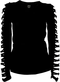 Bling Bling Long Sleeve Rhinestones T-Shirt Cut Out Ripped Top