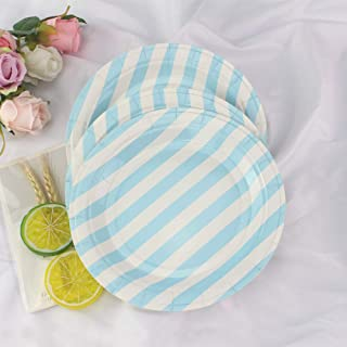 Blue Stripe Party Paper Plates 36pcs - 9inch Disposable Round Plates for Cakes, Dessert, Fruits