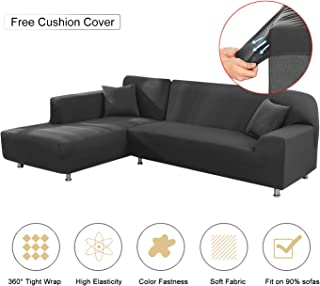 Mingfuxin Sectional Sofa Covers, Upgraded Furniture Protector for I/L-Shaped Couch, Stretch Elastic Fabric Anti-Slip Stain Resistant Sectional Couch Slipcovers for Living Room Right/Left Chaise(Grey)