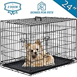 Vnewone Large Dog Crate Dog Cage Medium Dog Kennel Animal Pet Crate Pet Cage Metal Wire Double Door Folding Fully Equipped Outdoor Indoor with Plastic Tray and Handle (24')