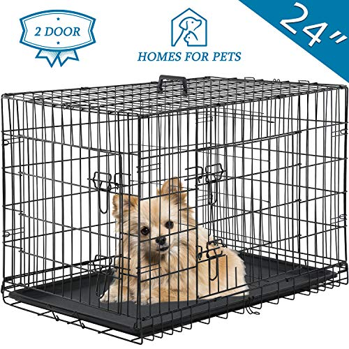 """Vnewone Large Dog Crate Dog Cage Medium Dog Kennel Animal Pet Crate Pet Cage Metal Wire Double Door Folding Fully Equipped Outdoor Indoor with Plastic Tray and Handle (24"""") Basic Crates"""