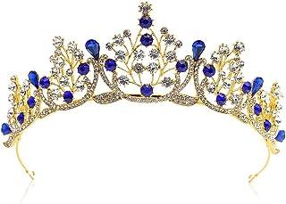 Dongyu Corona, Accessori for Capelli da Sposa in Cristallo Copricapo da Sposa con Strass in Oro Aristocratico (Color : A)