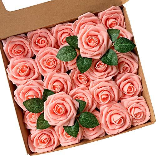 ACDE Flores Artificial, Rosa Artificial 25PCS Rosa Falsa Espuma Mirada Real con Hoja y Vástago Ajustable para Bricolaje Ramos de Boda Decoraciones para el Hogar Nupciales (Rosado)