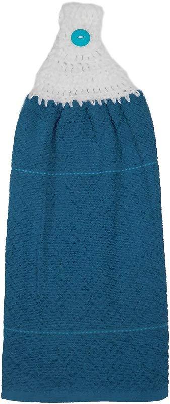 Ocean Blue Caribbean Stripes Double Kitchen Cotton Hand Towel Crochet Top