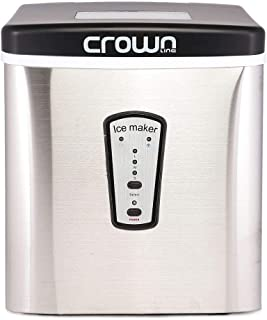 Crownline MZB-12E, Portable Ice Maker Machine, 12kg/24Hrs | Ice Ready in 7 Minutes | No Plumbing Required | Includes Scooper and Removable Basket | Stainless Steel, Black