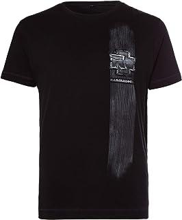 Rammstein Herren T-Shirt Broken Logo Offizielles Band Merchandise Fan Shirt schwarz mit mehrfarbigem Front und Back Print