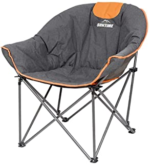 Suntime Sofa Chair, Oversize Padded Moon Leisure Portable Stable Comfortable Folding Chair for Camping, Hiking, Carry Bag