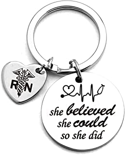 Nurse Graduation Keychain,She Believed She Could So She Did Stainless Steel Keychain Gifts,for Graduation Birthday Nurses Day Christmas,Perfect for Women Girls