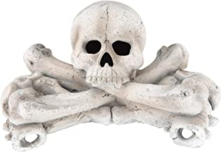 Stanbroil Imitated Human Skulls and Bones Gas Log for Indoor or Outdoor Fireplaces, Fire Pits, Halloween Decor, 1-Pack, White
