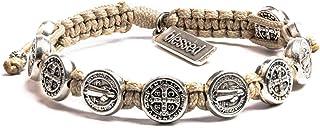 My Saint My Hero Handwoven Blessing Bracelet with Benedictine Metal Charms
