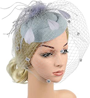 Fascinators Feather Hair Accessory for Women,Handmade Tea Party Hats Hair Clip Headdress for Derby Kentucky Wedding Headband Headwear,Gray