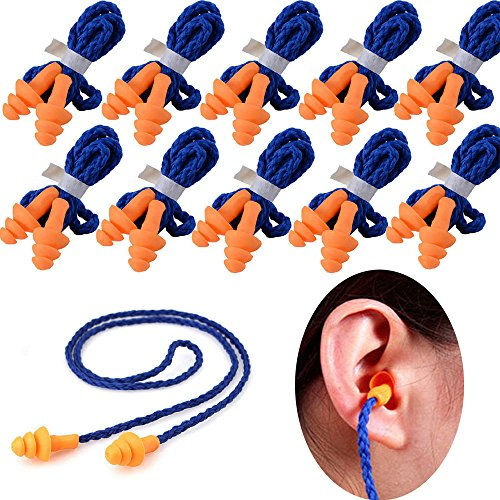 100 pairs Soft Silicone Corded Ear Plugs Reusable Hearing...