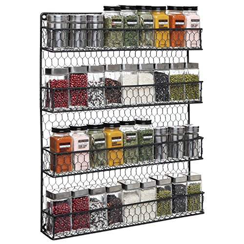 4-Tier Black Country Rustic Chicken Wire Pantry, Cabinet or Wall Mounted Spice Rack Storage...