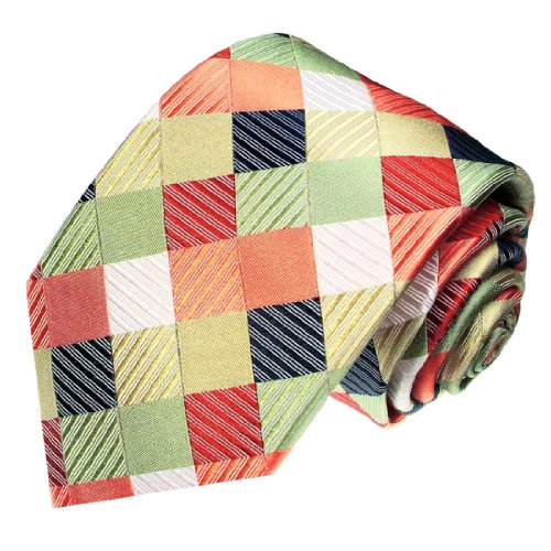 Lorenzo Cana - Karo Luxus Krawatte aus 100{f64fefd05ec9bb56447a487c615833e6124123211cbf8f815daeedbbf7920c94} Seide, lachs rot beige - exklusive handgefertigte Krawatte - 84268