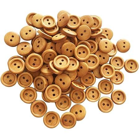 100 Piezas Decorativo Botón Hecho a Mano Botones de Madera Preciosa Hebilla para Coser - # 12, 13mm