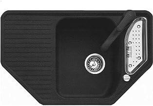 Teka Texina 45 E-TG - Granitspüle - Eckspüle - Schwarz - Einbauspüle aus Granit -Küchenspüle Eckspülbecken mit Drehexcenter
