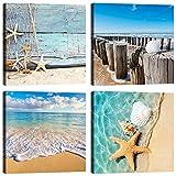 Quadri Spiaggia Mare 4 Pezzi 30x30 cm Stampa su Tela con Telaio in Legno Arredamento Arte ...