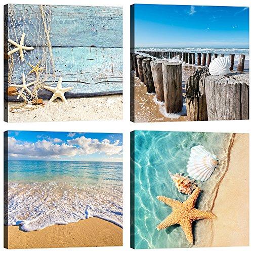 Quadri Spiaggia Mare 4 Pezzi 30x30 cm Stampa su Tela con Telaio in Legno Arredamento Arte Arredo Moderno