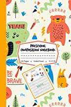 Preschool Composition Notebook: Cute Bear, Rabbit in Forest Pattern, My First Draw and Write Journal Dotted Ruled Noteboo...