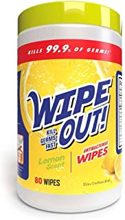 Wipe Out Anitbacterial Wipes Lemon Scent 80 Wipes