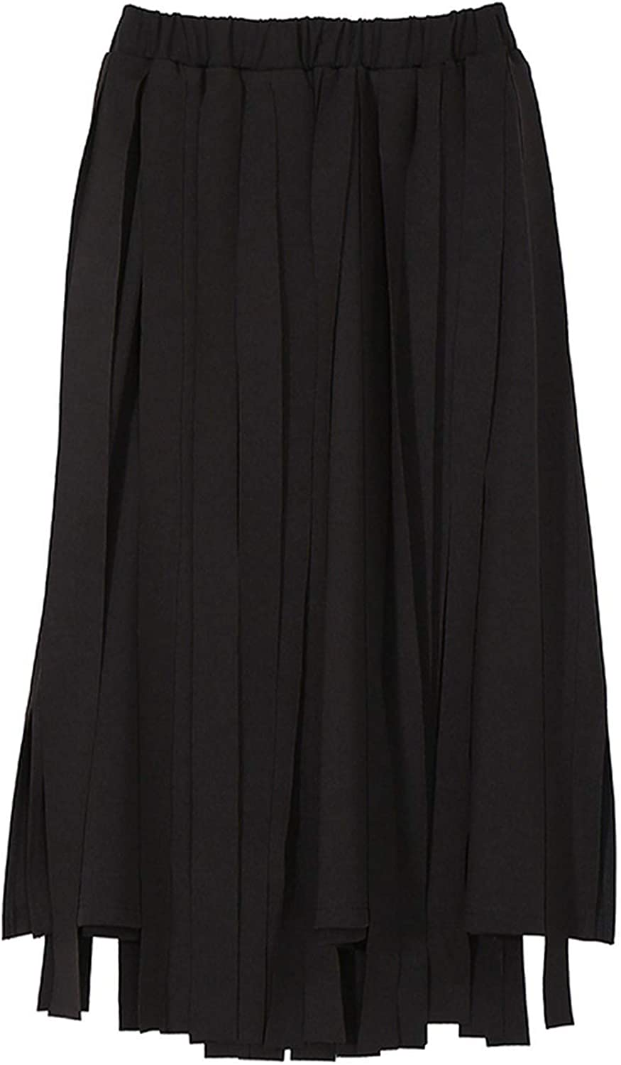 AllAboutUs Women Black bluee ALine Skirts with Many Tapes Elastic Waist Mid Calf Length Skirts 3833