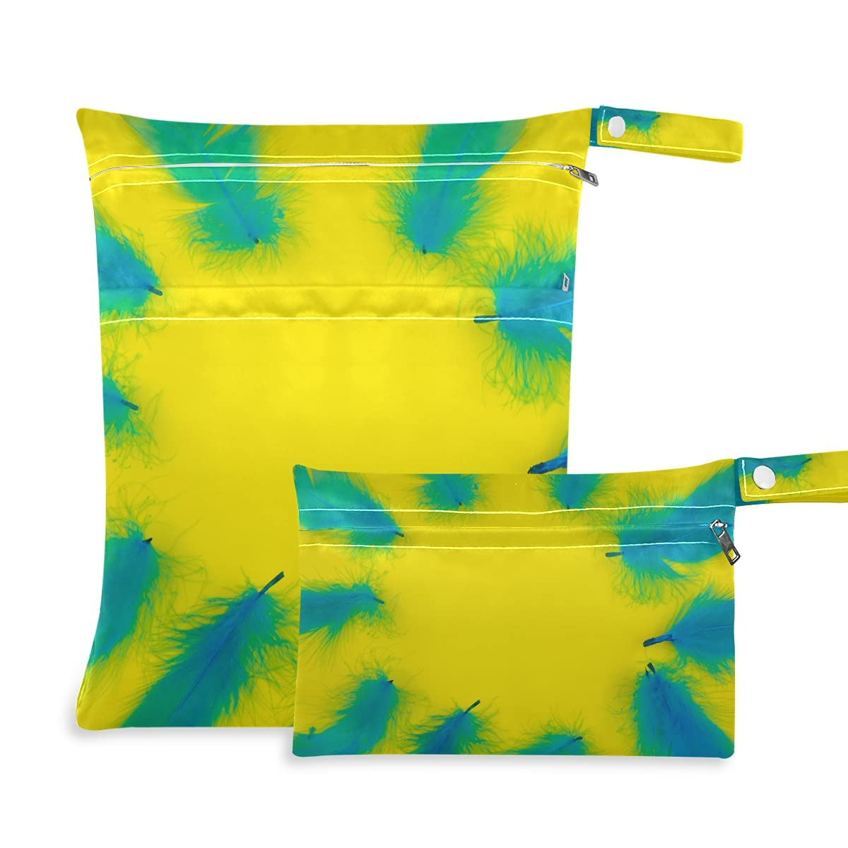 Blue Feathers Wet Dry 5 ☆ very popular Max 44% OFF Bag Reusable for Diaper Swimsuits