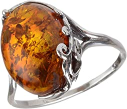 HolidayGiftShops Sterling Silver and Baltic Honey Amber Ring Dana