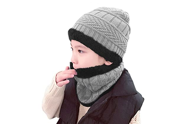 Winter Hat Scarf for Boys Girls Kids (5-14 Years) Slouchy Beanie Windproof  Warm Knit Snow Infinity Scarf Skull Cap 2400576a1be