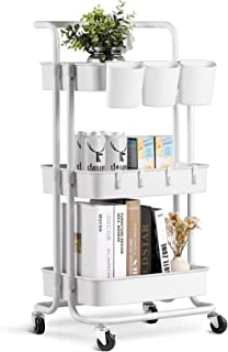 alvorog 3-Tier Rolling Utility Cart Storage Shelves Multifunction Storage Trolley Service Cart with Mesh Basket Handles an...