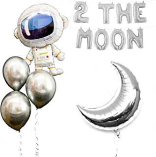 Space Party Balloons 2 the Moon Theme Party Supplies 17Pcs Chrome Silver Galaxy Astronaut Airship Spaceship Chrome Silver Moon Space Man Robot UFO Party Balloon Birthday Banner Decoration