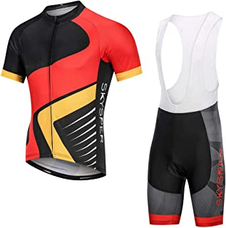 SKYSPER Cycling Jersey Set Men Bicycle Short Sleeve Set Suits with 3D Cushion Shorts Padded Pants